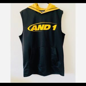 AND1 Boys Top Athletic Sleeveless Hood Size M